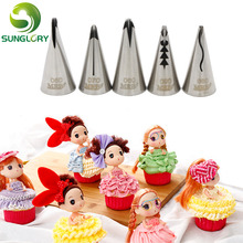 Wedding Cake Decorating Icing 5PCS Stainless Steel Russian Nozzles Pastry Bobbi Skirt Cake Nozzles Decoration Piping Tips Set(China (Mainland))