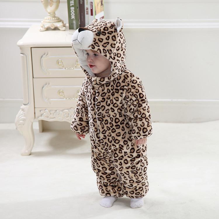 Скидки на Милый младенцы леопардовый форма фотография одежда детские комбинезоны