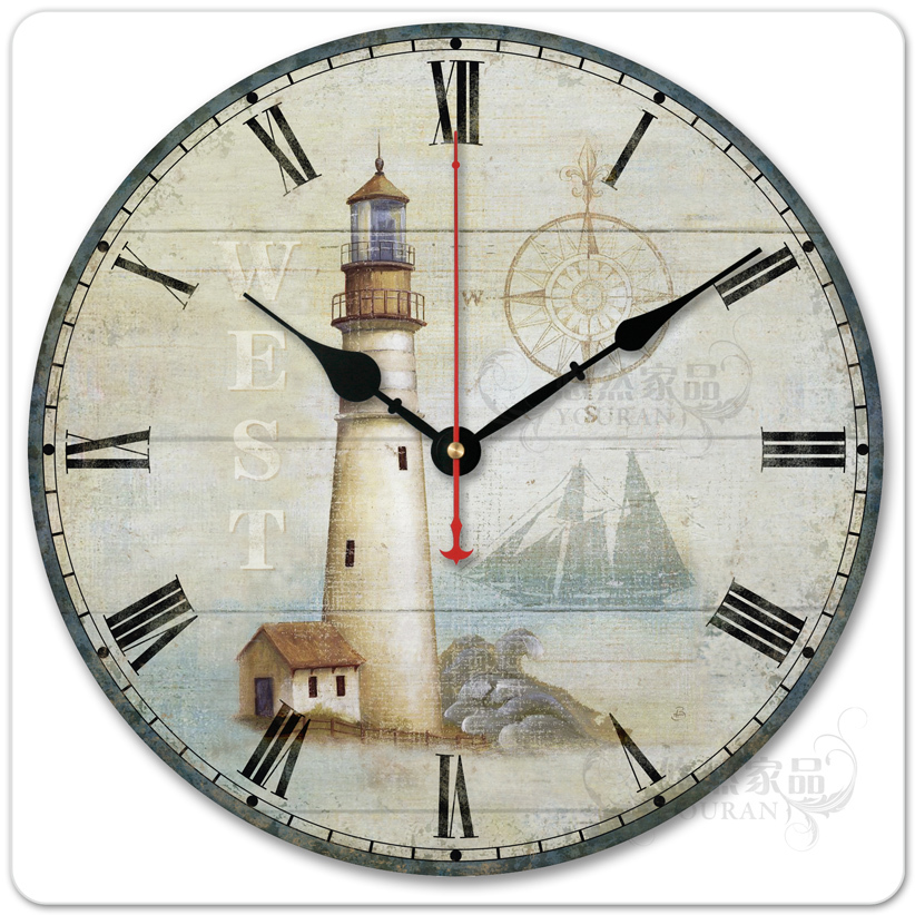 ean European pastoral village Home Furnishing living room decorative mute quartz hanging watch Lighthouse Solar movement(China (Mainland))