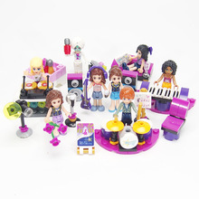 New! Friends Series Music Girl Minifigures Building Blocks Guitar Piano Drum kit Toys Bricks Compatible with Legoe