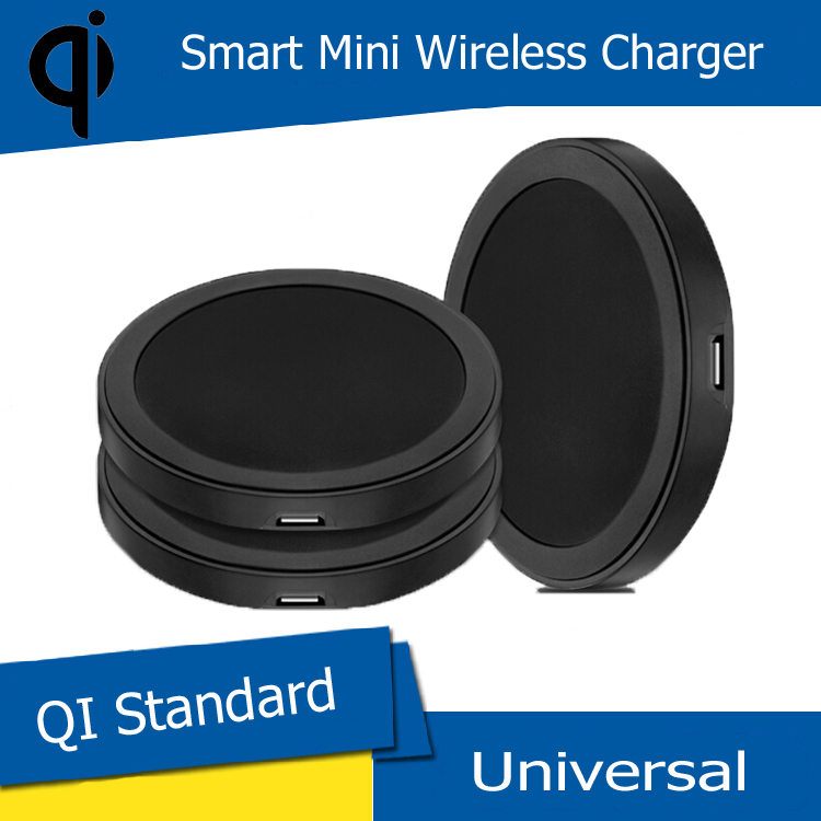 2016 Black Round Qi Wireless Charger Charging Pad For Samsung Galaxy S3 S4 S5 Lumia 920 Nexus 5 6 7 Moto 360 For Yotaphone 2