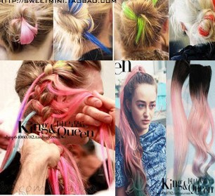 Min order is $10(mix order) hair Extensions punk neon haircolouring multicolour color clip gradient straight clip-in(China (Mainland))