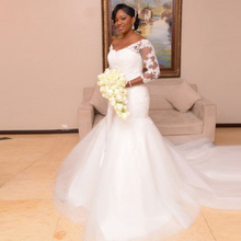 2017 Plus Size Wedding Dresses Lace Tulle Mermaid Wedding Dresses 3/4 Sleeve Wedding Gowns Vintage African Bridal Gowns HD-254(China (Mainland))