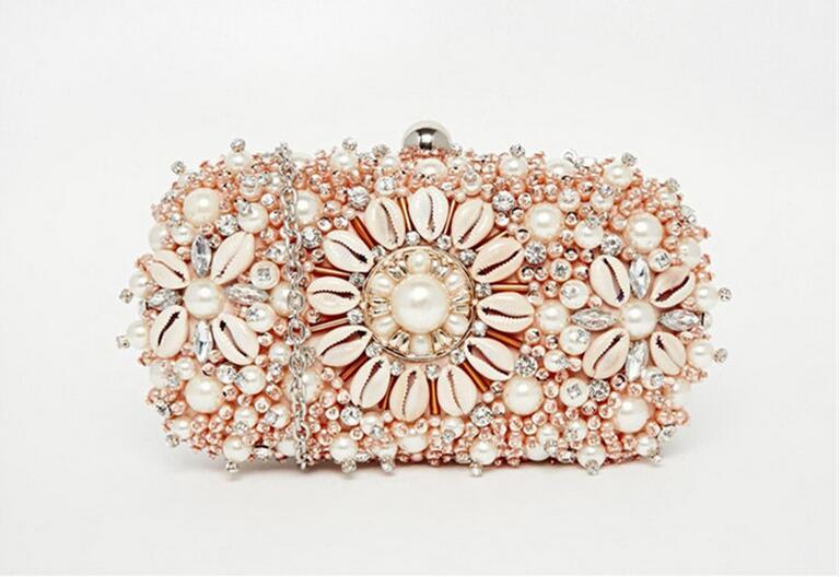 women designer brand Nude color shell pearl hand bag shoulder bag Beaded Ladies Diamond hard dress Handbag bride <br><br>Aliexpress