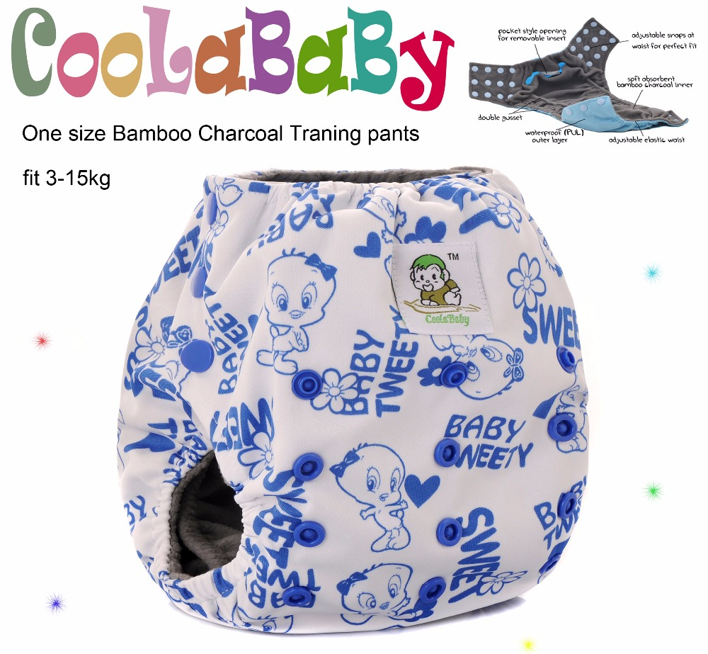 1 Coolababy One Size Bamboo Charcoal baby waterproof Potty training pants with double gusset(China (Mainland))