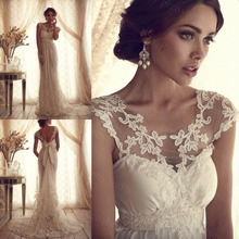 High Fashion 2015 Lace Wedding Dresses Vintage A-line Custom Size Bridal Gowns for Women vestidos novia(China (Mainland))