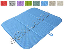 High Quality 16inch x 18inches Waffle Weave Dish Drying Mat For Kitchen Microfiber Cushion Pad XL - Blue(China (Mainland))