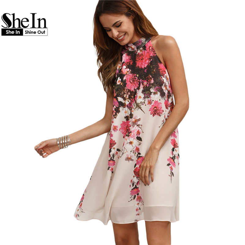 SheIn Summer Short Dresses Casual Womens New Arrival Multicolor Round Neck Floral Cut Out Sleeveless Shift Dress(China (Mainland))