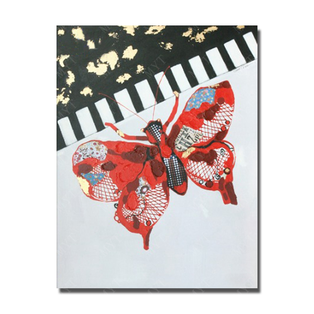Beautiful Butterfly Play Piano framed framed Modern Wall Painting Home Decor High Animal Oil Painting
