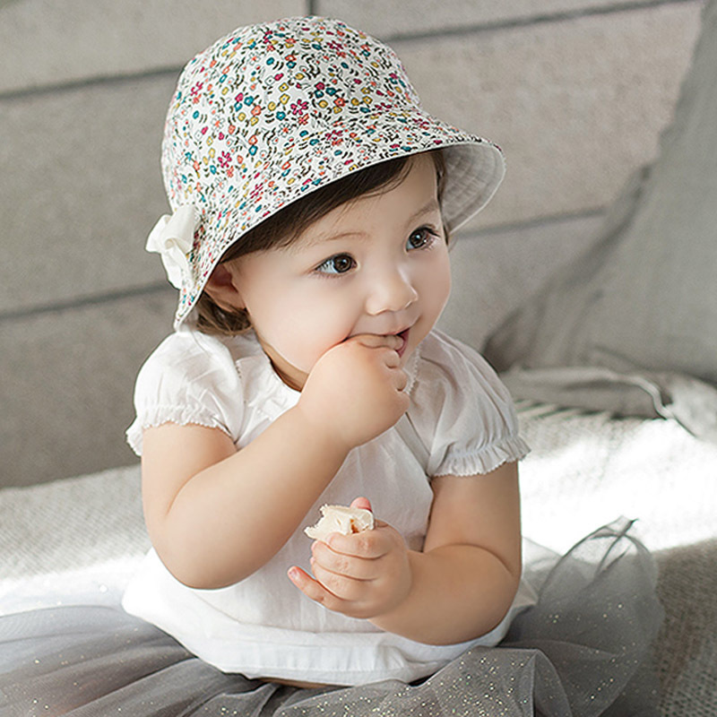 Newborn Baby Hat Cap Bucket Sunshade Floral Bowknot Beach Outdoor Cap 4M-2Y(China (Mainland))