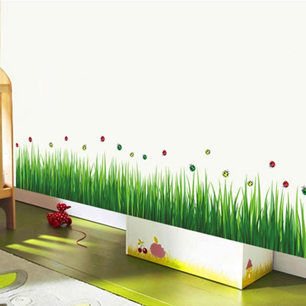 Fashion Removable Diy Green Grass Skirting Line Nursery Kindergarten Home Decor Art Wall Sticker