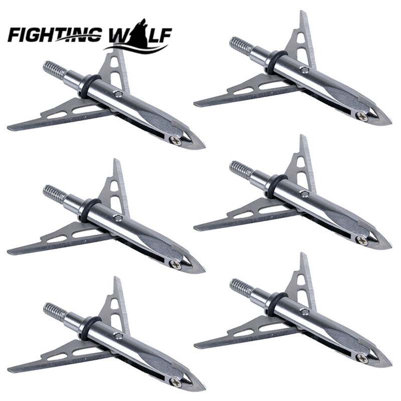 6PCS Hunting Bow Silver Archery Arrows 2 Blade Expandible Broadhead Tip 2 Cut Archery Bowfishing Hunting