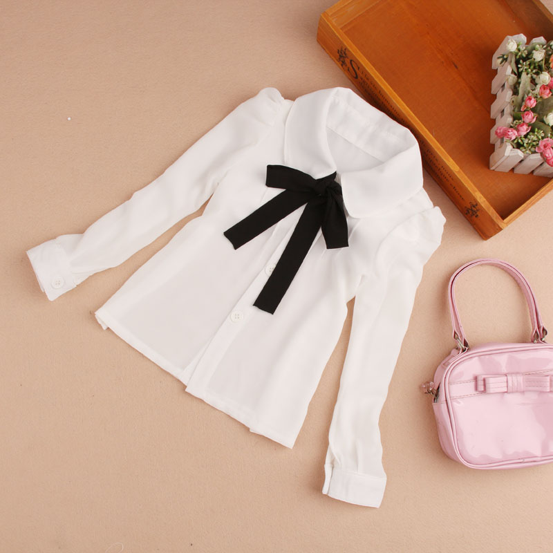2017 Spring Girls Blouses Children Clothing Kids Baby Girl Clothes School Girl Blouse Long Sleeve Bow White Child Shirt Age2-16T(China (Mainland))