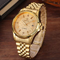 Luxury Gold Fashion Mens Watches Casual Crystal Dial Date Automatic Mechanical Stainless Steel Sport Wrist Watches