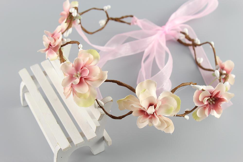 Pink beige Bride Headband Wedding Rose Flower Wreath headband Floral garlands flower crown Hair Accessories forehead wreath