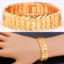 Hot Sale Big Chain Link Bracelet With Flower Pattern 17mm Width Fashion Gold Color Bracelet 20CM For Women Accessories MGC H424(China (Mainland))