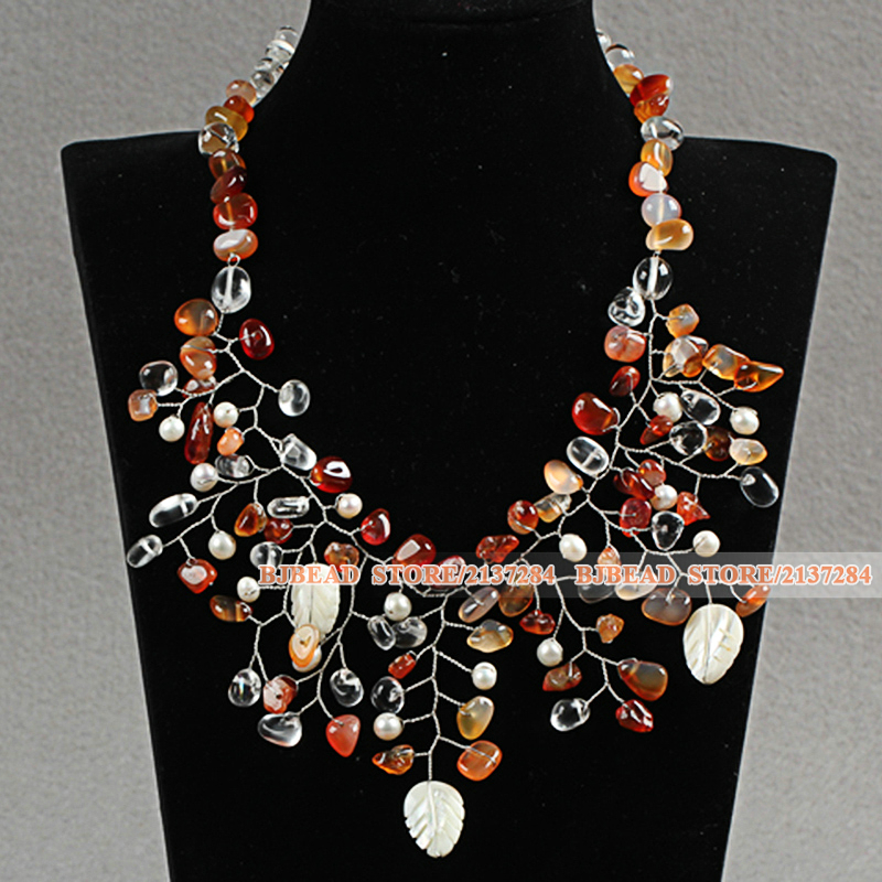 Chunky Style Fashion Assorted Freshwater Pearl Crystal Shell And Agate Wired Crochet Flower Party Necklace With Moonlight Clasp(China (Mainland))