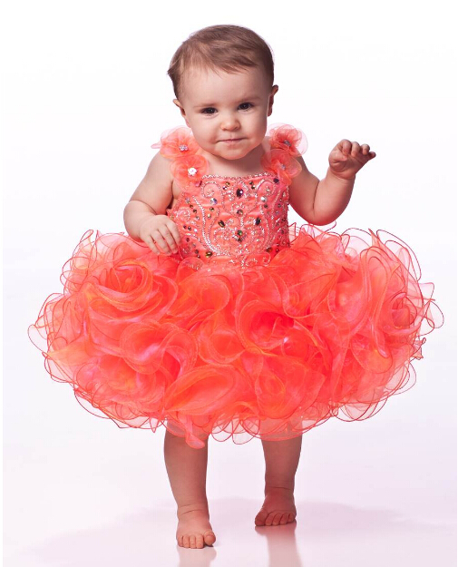 2016 Lovely Baby Flower Girl Dresses New Spaghetti Strap Crystals Short Ruffles Hand Made Flowers Toddler Formal Party Dress Hot(China (Mainland))
