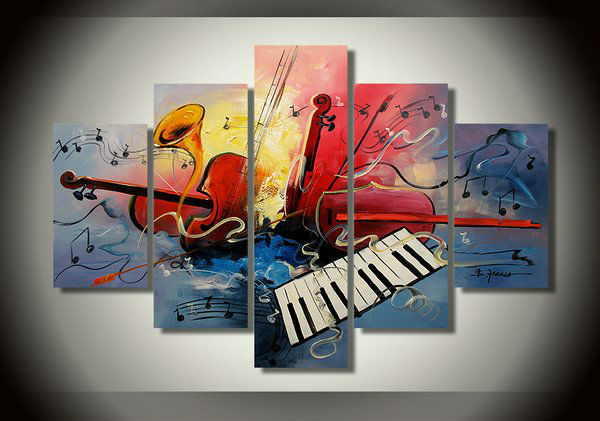 modern wall art, abstract art instrument theme oil painting, 100% hand-painted five home decoration painting(China (Mainland))