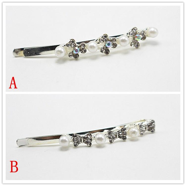 1pcs Hair jewelry Fashion tiara Women Hair Accessories Rhinestone tie pearl hairpins Barrettes clips YZJ-54(China (Mainland))