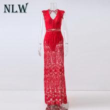 NLW V צוואר תחרה לבן אלגנטי מקסי ארוך שמלת אביב קיץ חלול החוצה ללא משענת Vestidos סקסי גבוהה מותן נשים שיק שמלות(China)