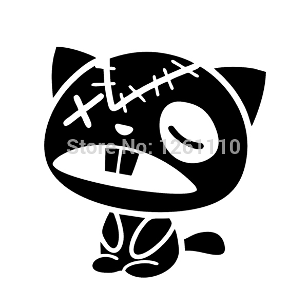 40 pcs/lot Zombie Cat Wall Art Vinyl Decal JDM Sticker Laptop Funny Car Laptop Bin Fridge wall Van SUV Window Bumper 8 Colors<br><br>Aliexpress