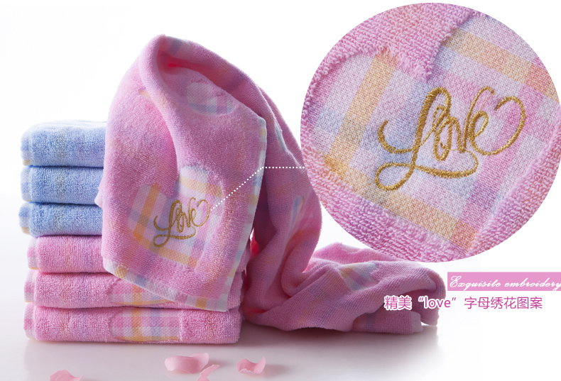 1lot = 4pcs 100% cotton towel brand romantic lovers towel jacquard absorbent towel wholesale G1892H/4(China (Mainland))