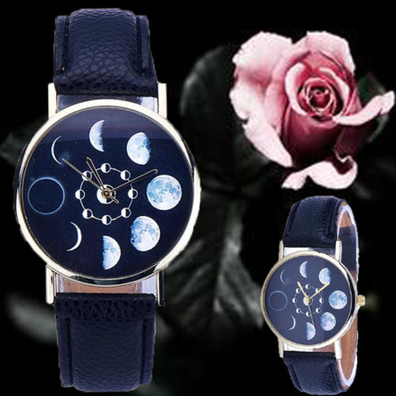 Moon Phase Lunar Eclipse Watch Solar Pattern Dial PU Leather Quartz Wrist Ion Silicone Bracelet Watches For Women Men(China (Mainland))