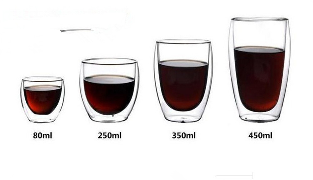 250ml Double Wall shot Glass Coffee Cup Heat-resistant Double layer wall glass Cups glassware 350ml.80ml.450ml(China (Mainland))