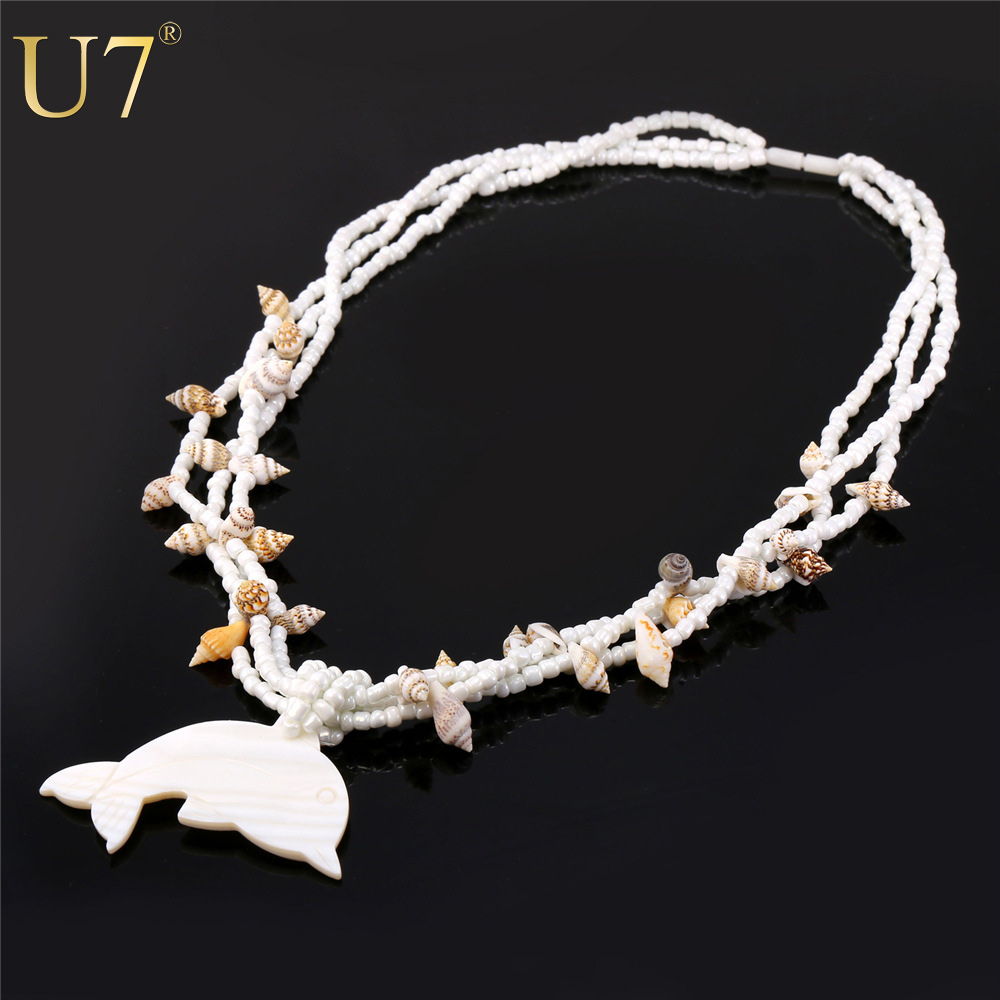 U7 Bohemian Necklace Women Valentines Gift Luxury New Statement Maxi Necklace Dolphin White Shell Pendant Necklace Flower N487(China (Mainland))