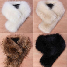 Details about High Quality New Women's Faux Fox Fur Collar Black White Beige Colors M8(China (Mainland))