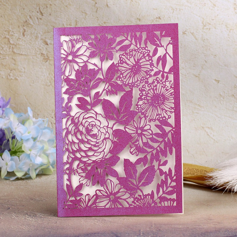 Beautiful Flower Hollow Out Laser Cut Invitations Outer ...