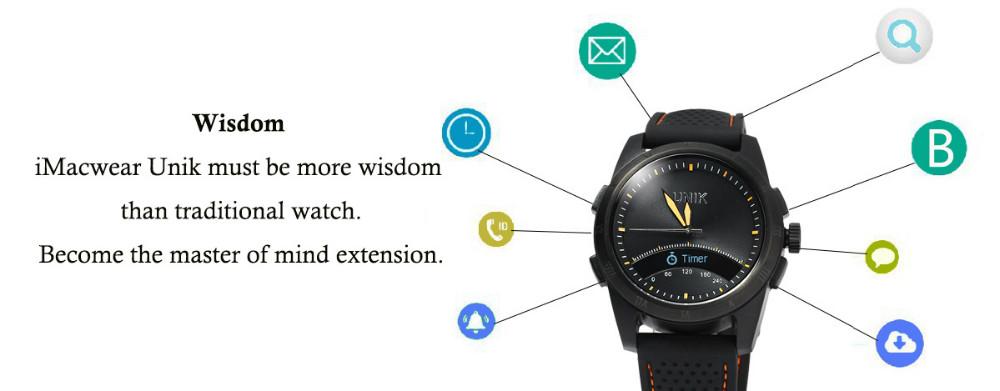 ถูก ใหม่ล่าสุดimacwear unikบลูทูธ4.0กันน้ำsmart watchโทรsmsกีฬาการนอนหลับการตรวจสอบเข้ากันได้กับandroid ios