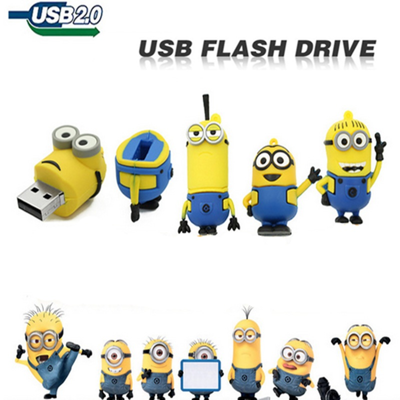 New Pendrive Minions usb flash drive u disk 64GB 32GB 16GB 8GB 4GB Despicable Me 2 Pen drive Memory stick flash card lovely(China (Mainland))