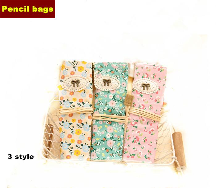 12 Pcs/lot Kawaii Trousse Bow flower Pencil Bags Canvas Pen Cases Cute Estuches School Pouches 3 Style Lapices Estojo Escolar - Black Friday zakka stationery store
