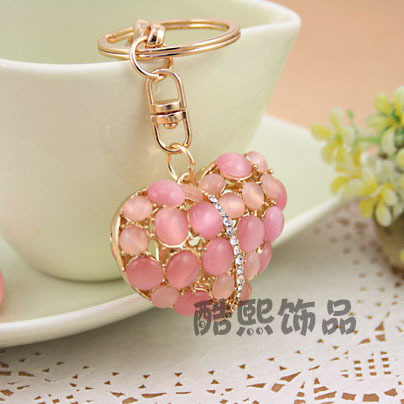 High Grade 18K Gold Plated Heart Cat Opal Car Key Chain Ring Beautiful Gift Nice Keychain - Pheninex Co.,Ltd. store