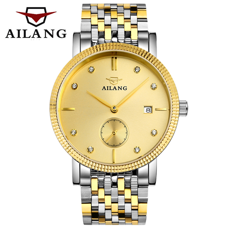 AILANG Mens Automatic Mechanical Watch Men super thin fashion business watches waterproof full steel Gold watch man Clock<br><br>Aliexpress