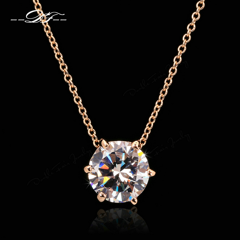 Elegant 6 Claw CZ Diamond Necklaces &amp; Pendants Gold Plated Fashion Brand OL Style Jewelry For Women Chains Wholesale DFN219<br><br>Aliexpress