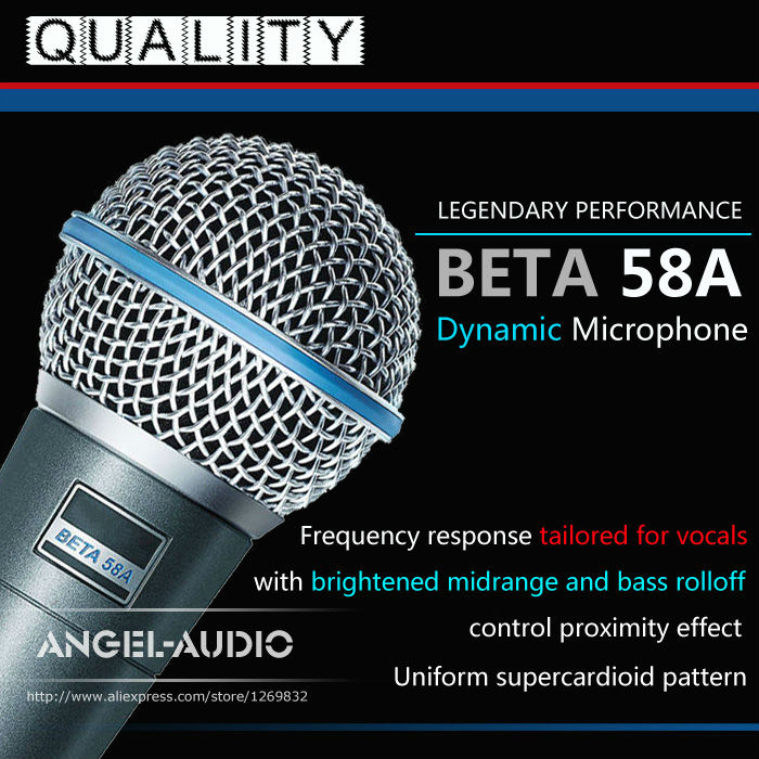 Free Shipping Top Quality Beta58A Supercardioid Dynamic Vocal Wired Microphone Beta 58A 58 A Mike Mic With Bright Clean Sound !(China (Mainland))