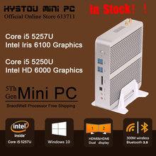 Core i5 Broadwell Fanless Mini PC Windows 10 Barebone Windows 10 Nettop 4K Dual HDMI HTPC Intel Iris 6100 Graphics 300M WiFi(China (Mainland))