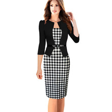 Womens Faux Twinset Patchwork Dress Belted Tartan Floral Houndstooth Plaid Print Work Business Sheath Bodycon Pencil Dress