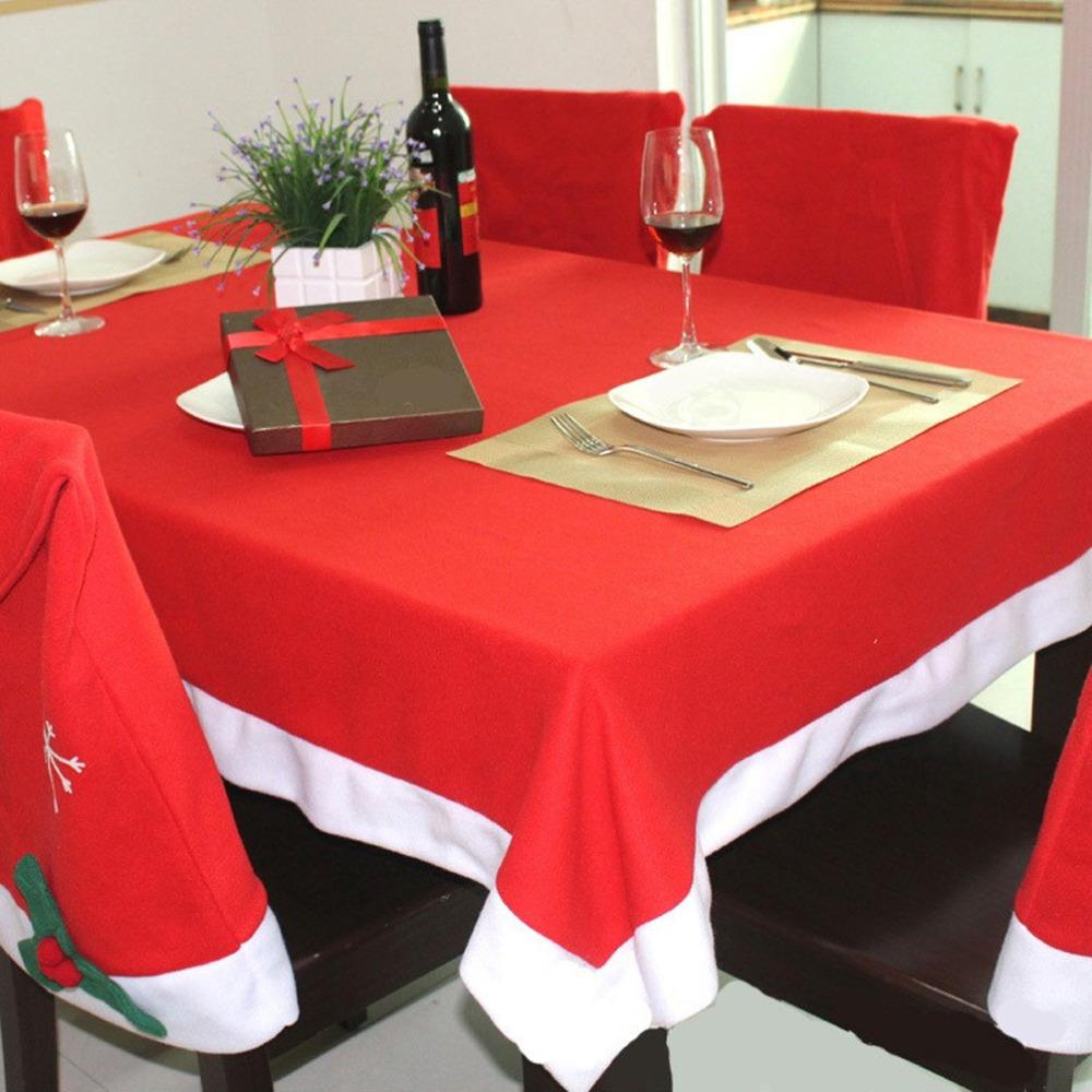 Christmas tablecloth set 6 pcs chairs Cover and 1 pc table cloth manteles para mesa navidad xmas decorations for home new year(China (Mainland))