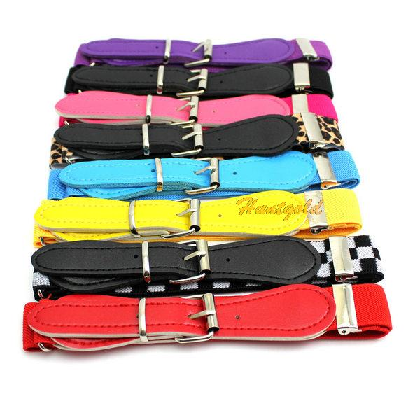 Free Shipping Candy Colors Wide Kids Children Boys Girls Elastic Waist Belt Waistband