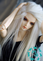 BJD Doll Wig 6-7'' 7-8'' 8-9''Leather Wool Wig Long Silver White 1/6,1/4,1/3