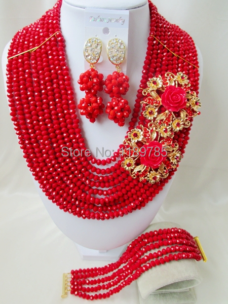 Fashion Nigerian African Wedding Beads Jewelry Set , Red Crystal Necklace Bracelet Earrings Set A-7773<br><br>Aliexpress