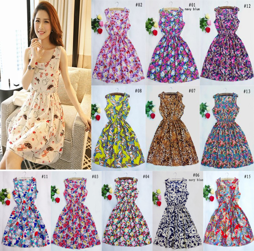 Free shipping 2015 summer autumn new Korean Women casual Bohemian floral leopard sleeveless vest printed beach chiffon dress