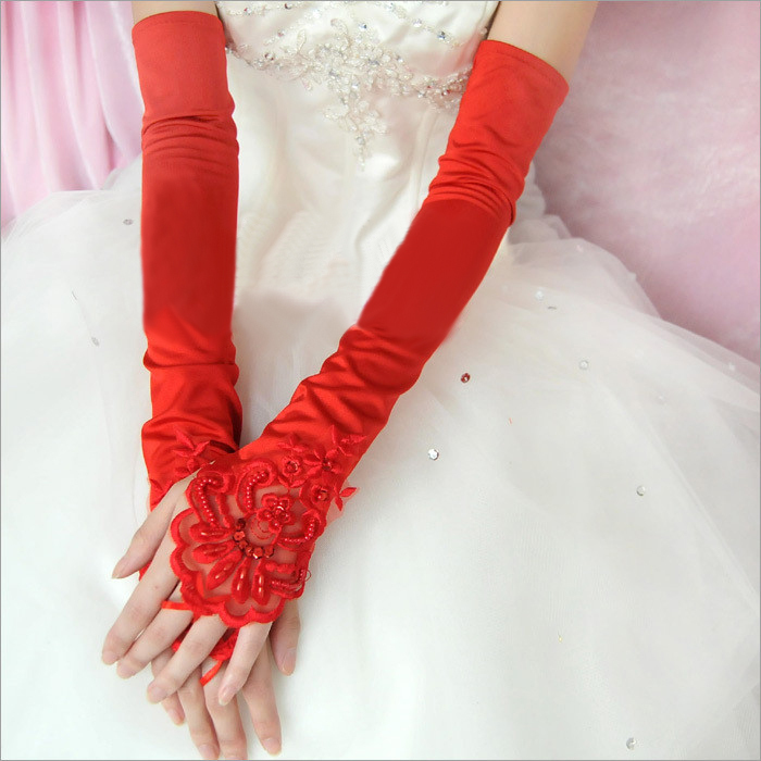 The bride wedding dress formal dress gloves design winter for Wedding dress with long gloves