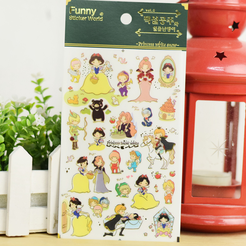 12 pcs/Lot Funny stickers Story of Princess White snow Fairy tales sticker for mobile diary album DIY Stationery tools F926<br><br>Aliexpress