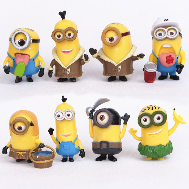 8pcs/lot  Animes Figure Action Yellow People Despicable Me Minions toys Doll 5-6CM PVC For Kids Toy<br><br>Aliexpress