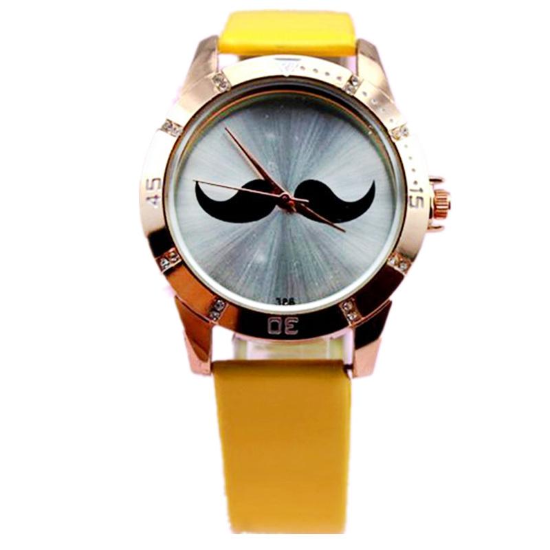 wholesales 60pcs/lot fashion mustache simple design pu leather band,high quality quartz watch.stylish wrist for women/men<br><br>Aliexpress